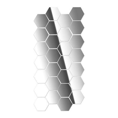 12Pcs Modern Creative 3d Silver Mirror Geometric Hexagon Acrylic Wall Bedroom Living Room Stickers Decor DIY
