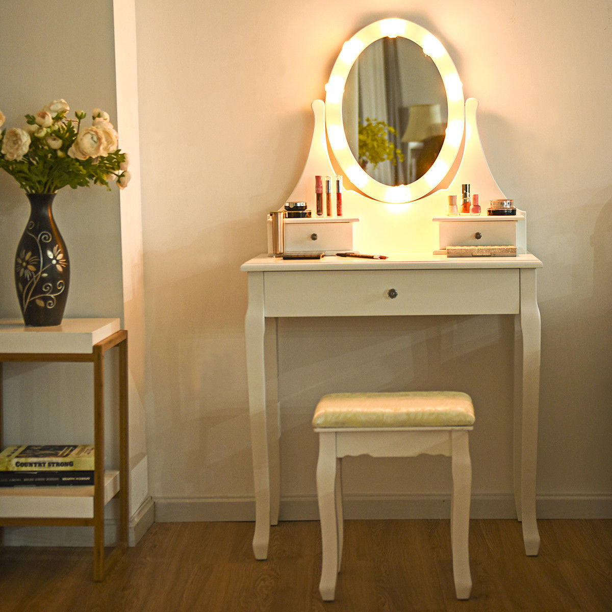 Gymax 3 Drawers Vanity Makeup Dressing Table Stool Set Lighted Mirror W/10  LED Bulbs