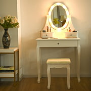 Gymax 3 Drawers Bedroom Vanity Makeup Dressing Table Stool Set Lighted Mirror W/10 LED Bulbs