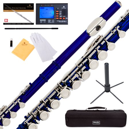 Mendini by Cecilio MFE-BL Blue Lacquer C Flute with Stand, Tuner, 1 Year Warranty, Case, Cleaning Rod, Cloth, Joint Grease, and