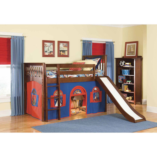 Bolton Furniture Mission Twin Low Loft Bed, Cherry with Blue/Red Bottom Playhouse Curtain and Slide