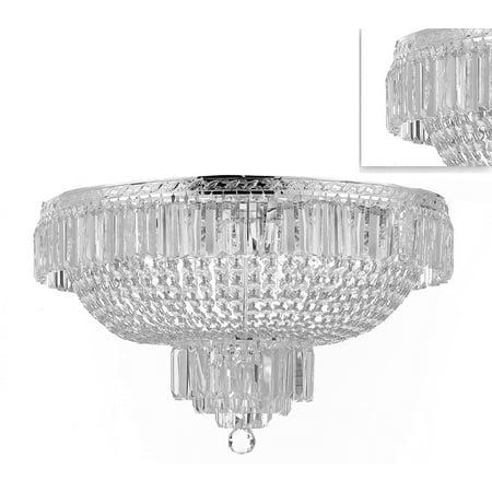 Basket Semi Flush - French Empire Crystal Semi Flush Basket Silver Chandelier