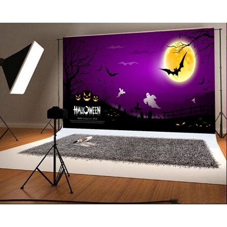 HelloDecor Polyster 7x5ft Halloween Photo Backgrounds Moon Bat Ghost Pumpkin Face Photography Backdrops](Halloween Pumpkin Faces Photos)