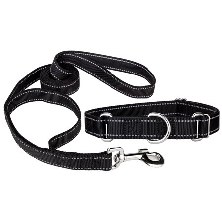 Country Brook Design® Black Reflective Nylon Martingale Dog Collar & Double Handle Leash