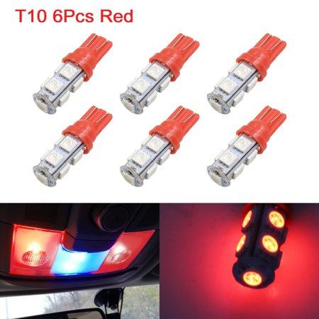 6Pcs 5050 T10 9 Led Car Red Lights Instrument Lamp Interior W5w 194 168 2825
