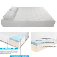 """Ktaxon Traditional Firm Memory Foam Mattress Bed 10"""" Full Size + 2 Free GEL Pillows 2 Layers,White"""
