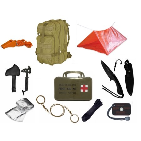 Ultimate Arms Gear Level 3 Assault Molle Tan Backpack Kit  Signal Mirror  Polarshield Blanket  Knife Fire Starter  Wire Saw  Axe  50 Foot Paracord  Camping Tube Tent  Whistle   First Aid Kit