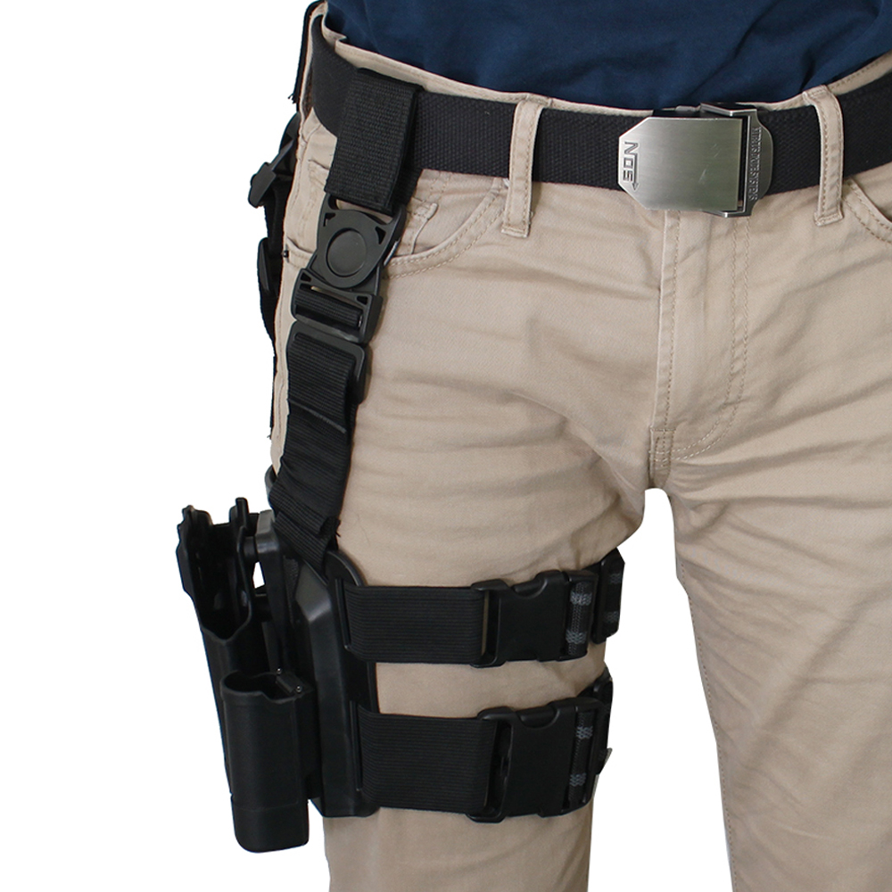 Image Drop Leg Gun Holster Military Quick Tactical Right Hand Paddle for Colt 1911 Black
