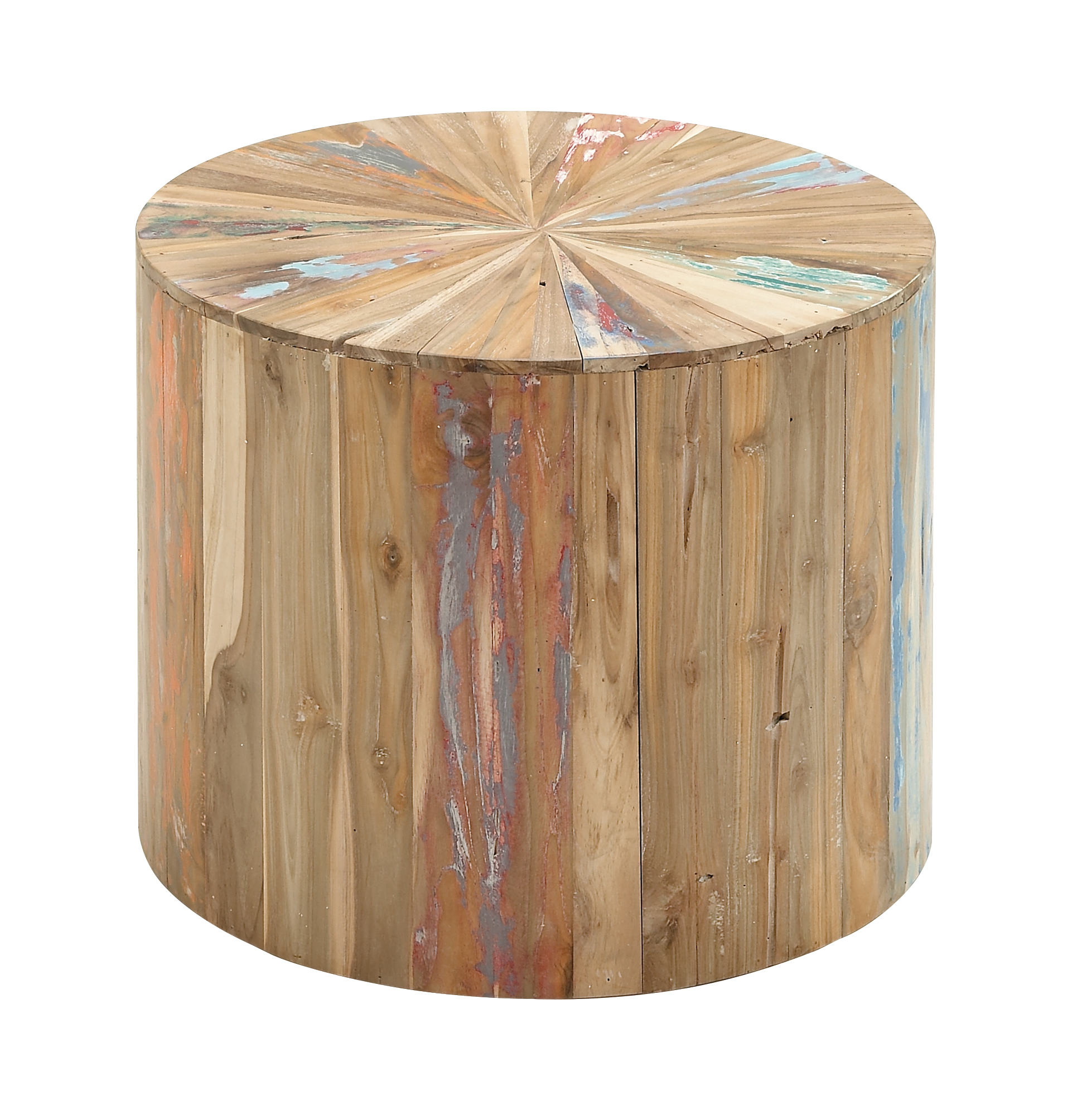 Decmode 18 X 22 Inch Rustic Reclaimed Wood Round Accent Table, Light Brown by DecMode