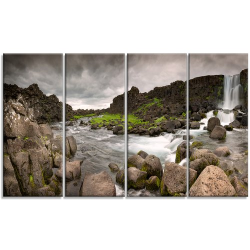 Design Art 'Dramatic Oxarafoss Waterfalls' Photographic Print Multi-Piece Image on Canvas