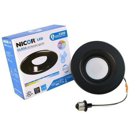 NICOR Lighting 5/6-Inch Dimmable 800-Lumen 3000K LED Downlight Retrofit Kit for Recessed Housings, Black Trim (Led Recessed Retrofit Trim)