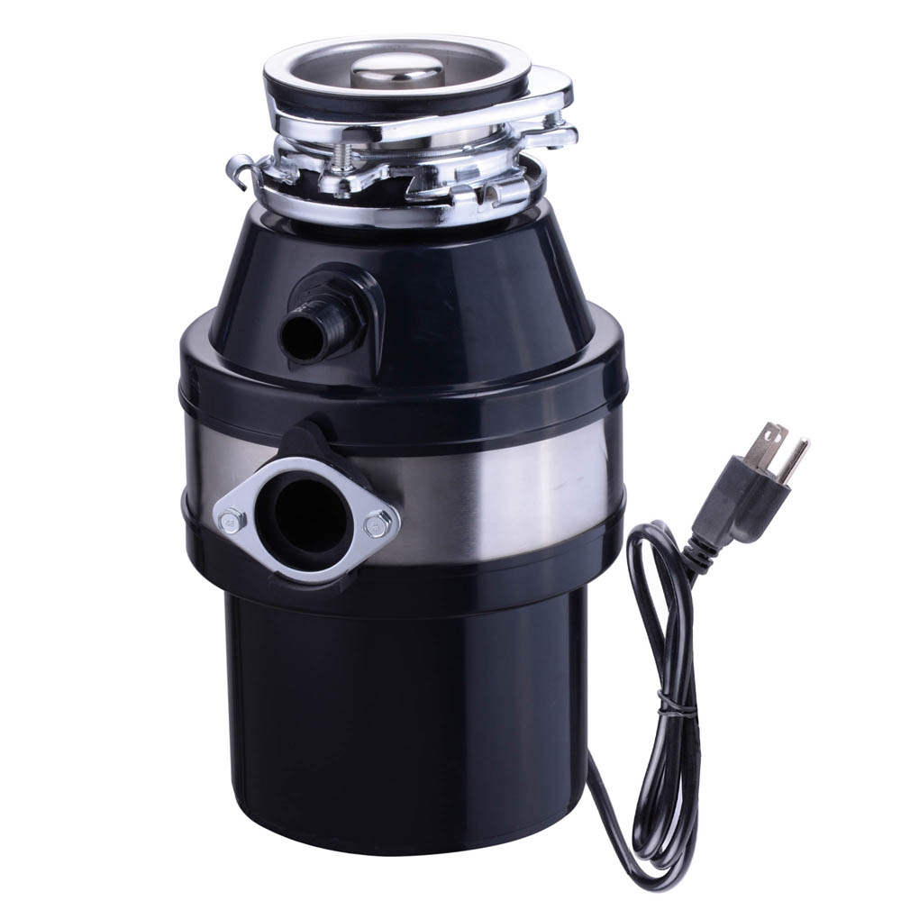 Yescom 1 HP 2600 RPM Continuous Feed Household Plug In Garbage Disposer for Kitchen Waste Disposal Operation With Plug Black
