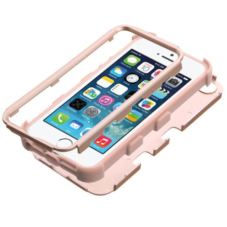 Insten Tuff Hard Dual Layer Rubber Silicone Case For Apple iPhone SE / 5 / 5S - Rose Gold - image 1 of 6