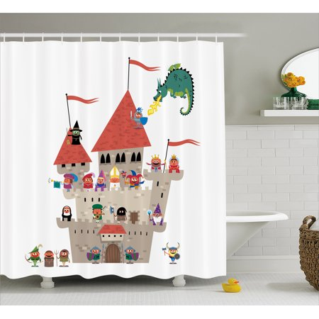 Fantasy Shower Curtain, Cartoon Kingdom with All Noble Fairytale Characters and a Dragon Spitting Fire, Fabric Bathroom Set with Hooks, 69W X 70L Inches, Multicolor, by