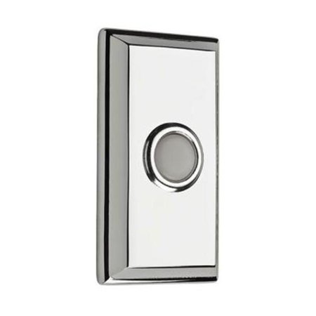 Baldwin 9BR7015-003 Wired Rectangular Bell Button - Polished Chrome Center Polished Chrome Wire