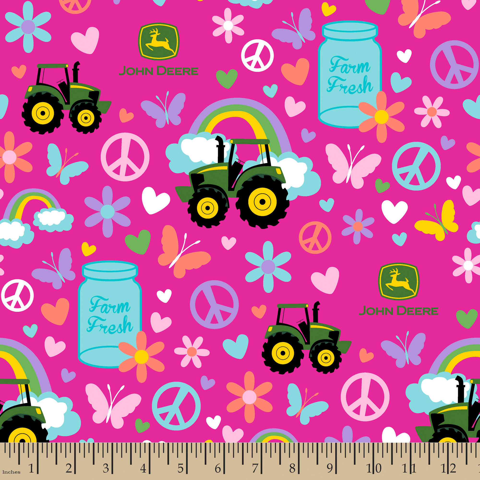 "John Deere Pink Farm Fresh, Multi-Colored, 100 Percent Cotton, 43/44""W, Fabric by the Yard"
