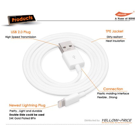 LIVEDITOR 3pc Apple Certified Cable iPhone S5 6S 5C 5S Lightning to USB Data Cable Charger - image 3 de 6