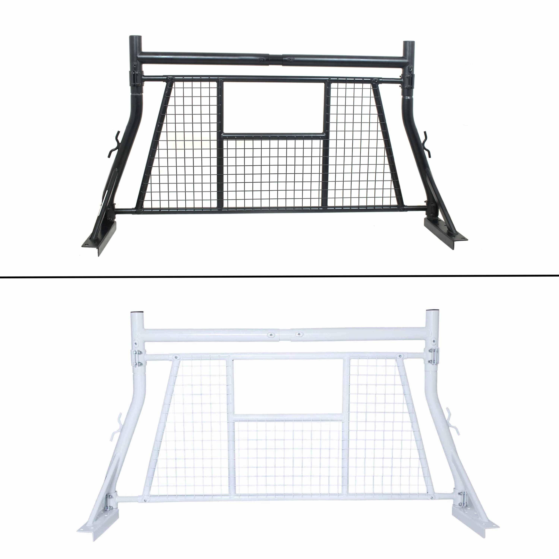 AA-Racks Adjustable Headache Rack Single Bar Extendable Truck Rack with Protective Screen Set Black (X35-A-W-BLK)
