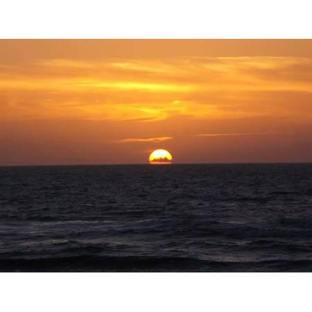 Canvas Print Tranquil Morning Sunset Sky Glow Orange Sea Dawn Stretched Canvas 10 x 14