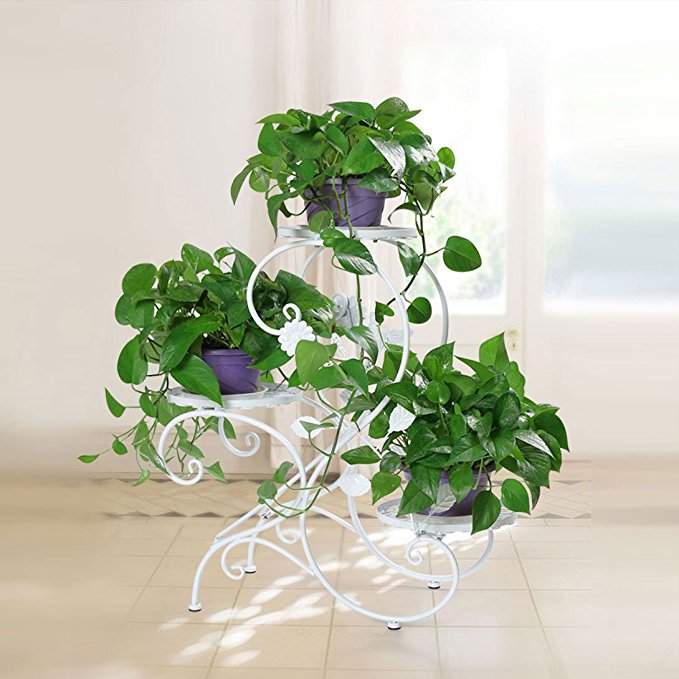 "HLC 3 Tier Metal Plant Stand Garden Patio Flower Pot Rack Modern ""S"" Design, Black"