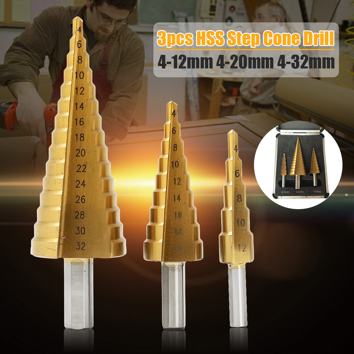3Pcs HSS Step Cone Drill Bits Titanium Coated Set Hole Cutter 4-12/20/32mm with Case