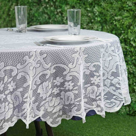 BalsaCircle 70-Inch Ivory Round Tablecloth with Floral Lace Table Linens Wedding Events Party Dining Decorations (Round Linens)