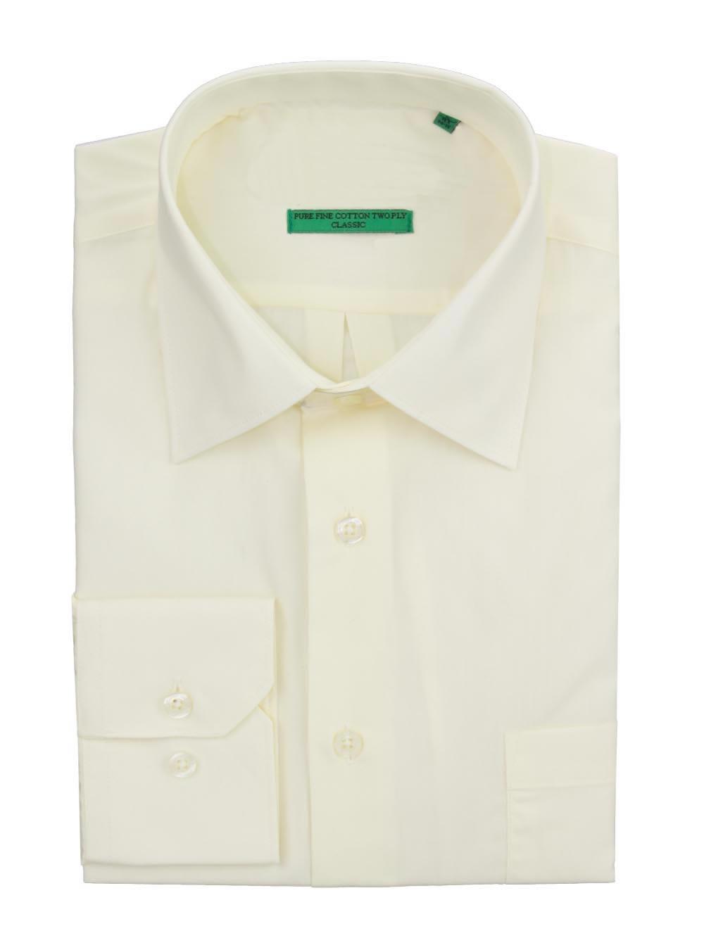 DTI BB Signature Men's Modern Classic Fit 2 Ply Pure Cotton Solid Dress Shirt Vanilla Ice