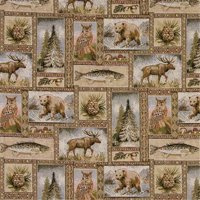 Designer Fabrics A024 54 in. Wide , Rustic Bears, Moose, Trees, Acorns And Fish, Themed Tapestry Upholstery Fabric