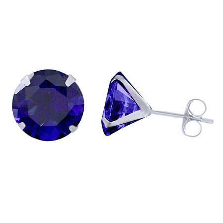 Round Cut Simulated Blue Sapphire Solitaire Stud Earrings In 14K Solid White Gold ()