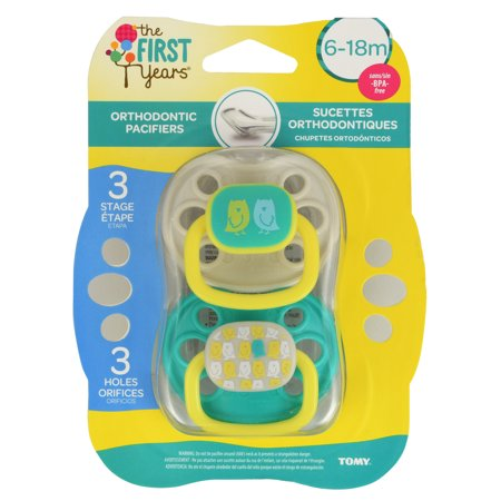The First Years Orthodontic Pacifier, 6-18 Months, Animal Pattern Neutral - 2