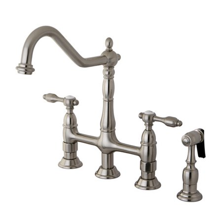 Kingston Brass Tudor Double Handle Widespread Kitchen Faucet with Bras