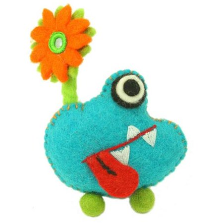 Felt Tooth - Global Groove Hand Felted Tooth Monster with Flower, Blue