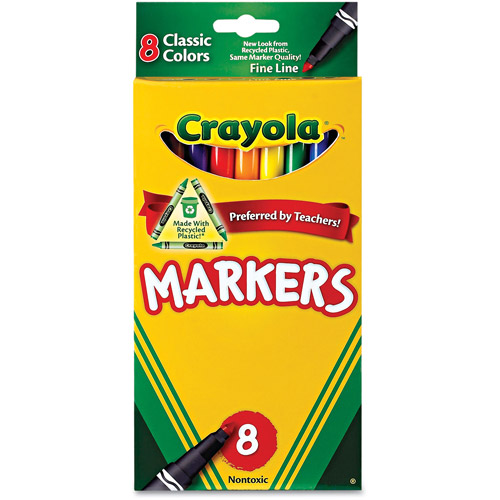 Crayola Non-Washable Classic Markers, 8pk, Fine Tip