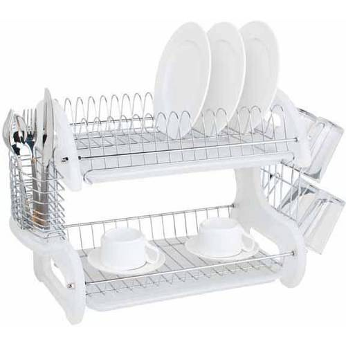 Home Basics Dish Drainer 2-Tier Plastic, White