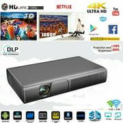 9000 Lumens 4K HD DLP Projector Wifi 3D 1080P Smart Home Theater Cinema HDMI USB