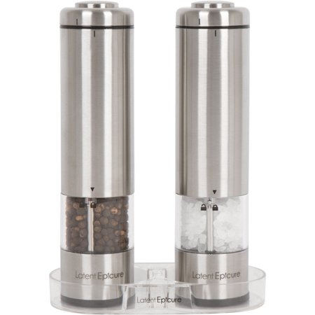 Latent Epicure Battery Operated Salt and Pepper Grinder Set (Pack of 2 Mills) - Complimentary Mill Rest | LED Light | Adjustable Coarseness | ()