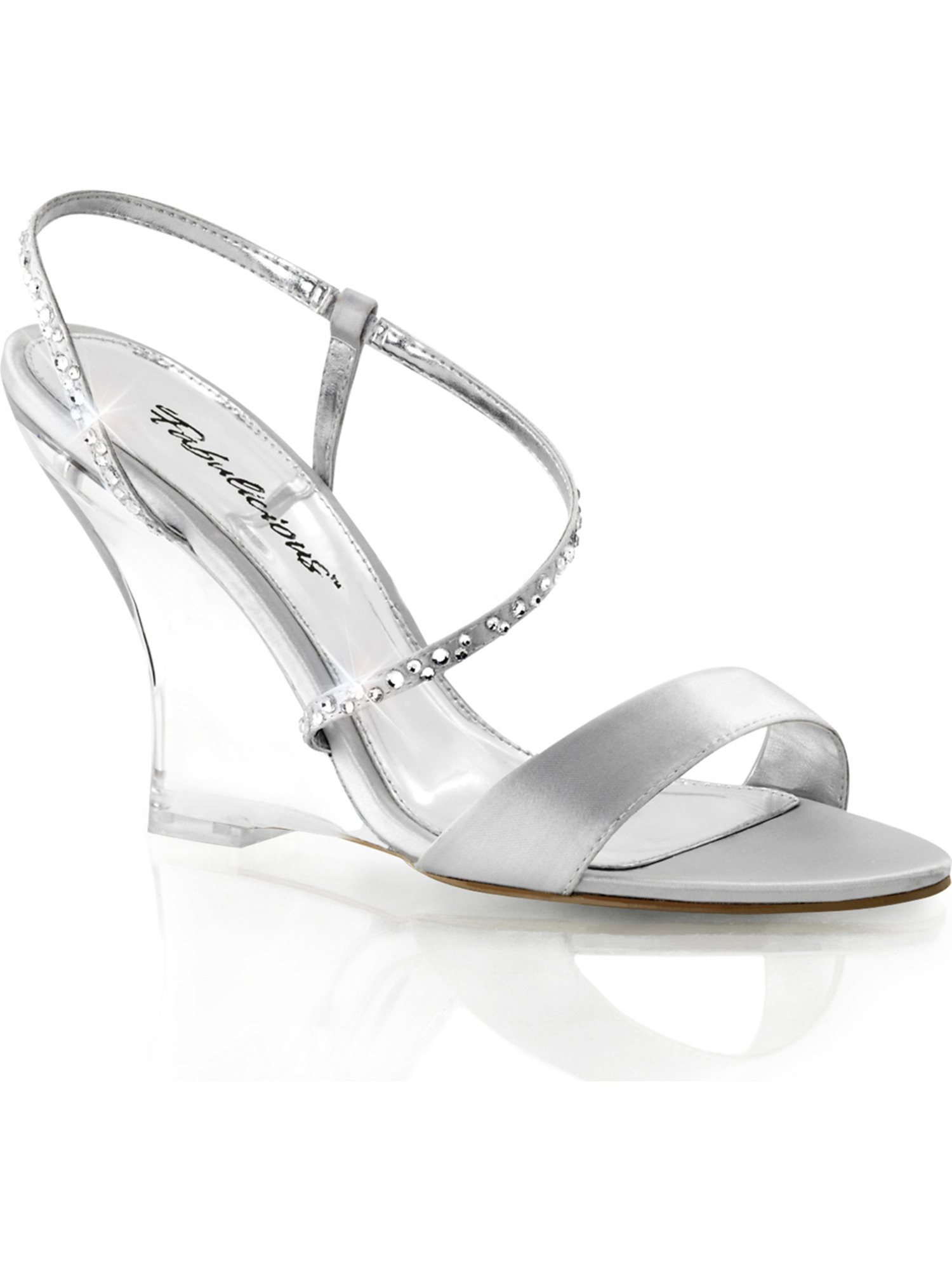 Womens Silver Satin and Rhinestone Wedges Sandals Shoes 4'' Clear Wedge Heels