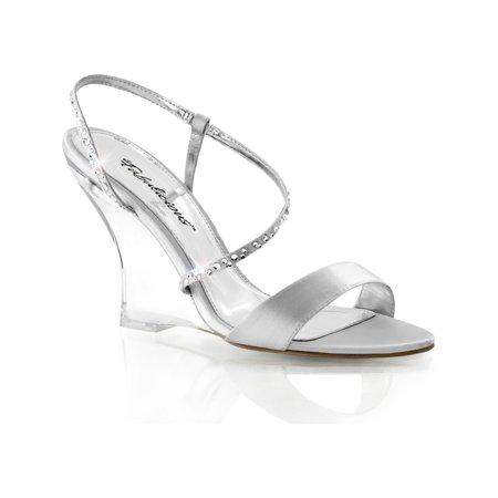 womens silver satin and rhinestone wedges sandals shoes 4'' clear wedge heels Satin Wedge Sandal