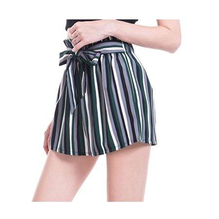 LELINTA Womens Activewear Shorts & Skirts Women High Waist Casual Shorts Pants Stripe Ruffle Bow-Tie Elastic Waist