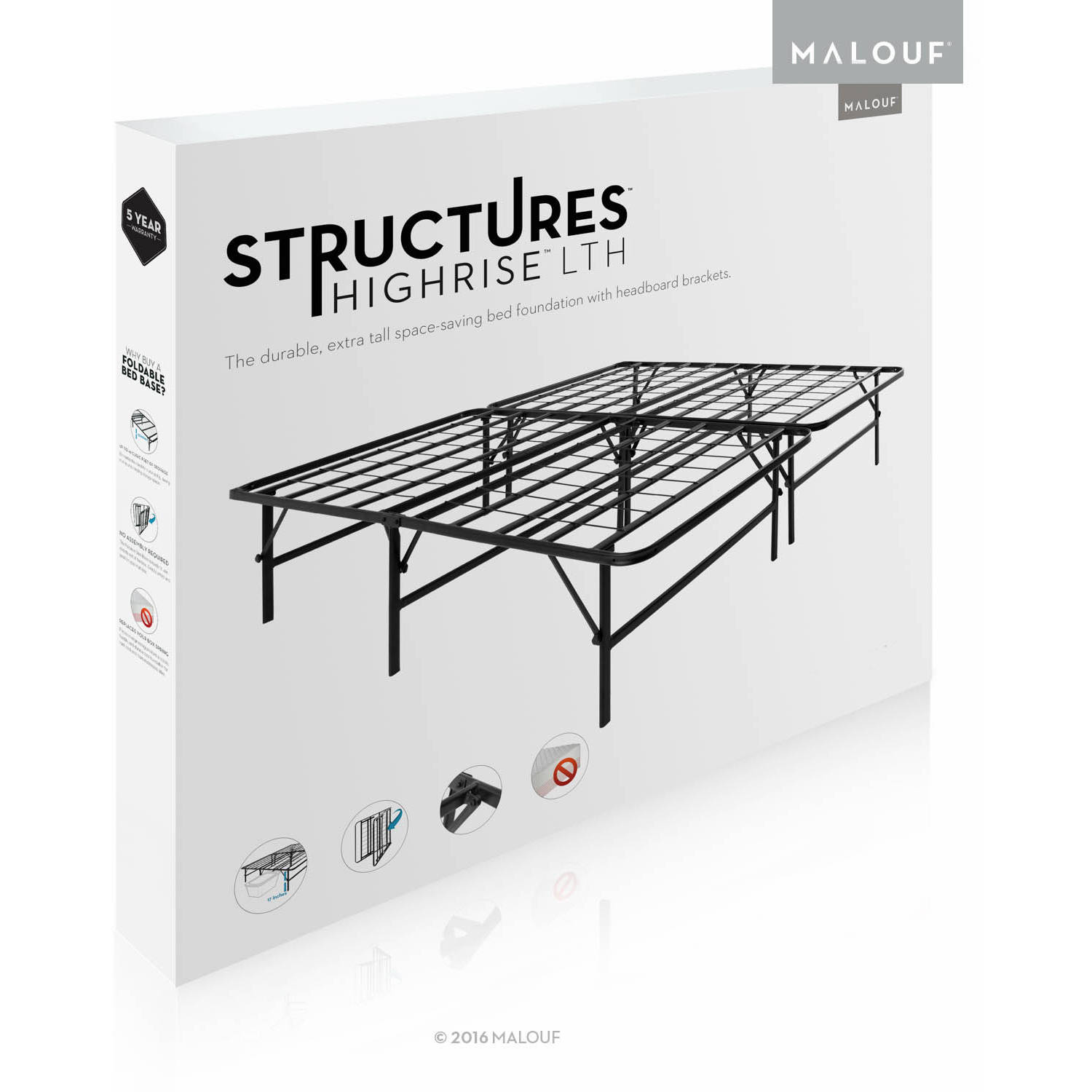 Structures Highrise Foldable Bed Frame and Mattress Foundation ...