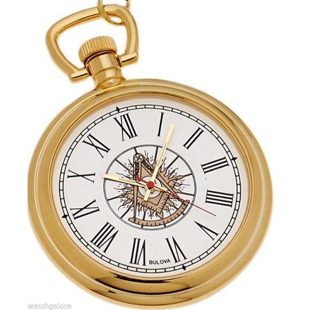 New Bulova Gold Plated Masonic Past Master Pocket Watch and Matching Chain ()
