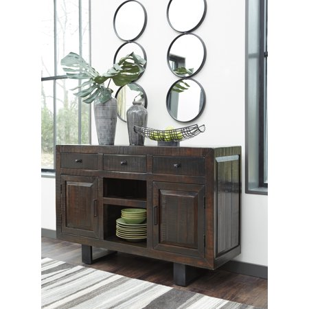 Ashley Furniture Parlone Dark Brown Dining Room Storage Server With Two Doors