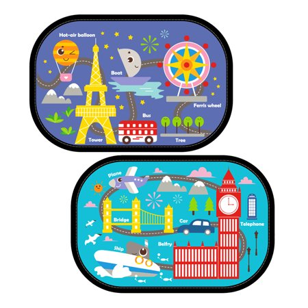 - Cartoon  Car Side Window Sun Shade Visor Protector Static Film (2 Packs) World Travel Design Block Harmful UV Rays