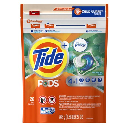 Tide PODS Liquid Detergent Pacs with Febreze, Botanical Rain, 26 Count - Roll Tide Colors