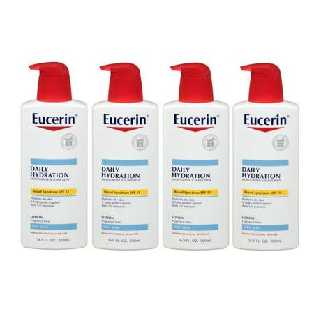 - 4 Pack Eucerin Daily Protection Moisturizing Body Lotion SPF15 16.9 Oz Each