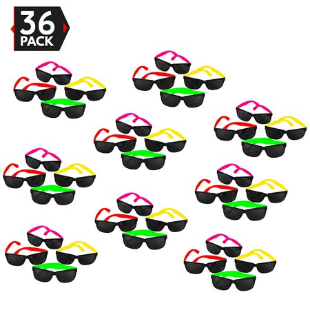 36 Pack 80's Style Neon Party Sunglasses - Fun Gift, Party Favors, Party Toys, Goody Bag Favors - Party Favor Sunglasses
