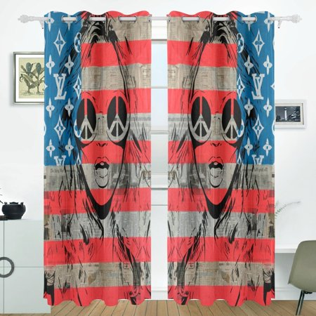 POPCreation Americana Window Curtain Blackout Curtains Darkening Thermal Blind Curtain for Bedroom Living Room,2 Panel (52Wx84L -