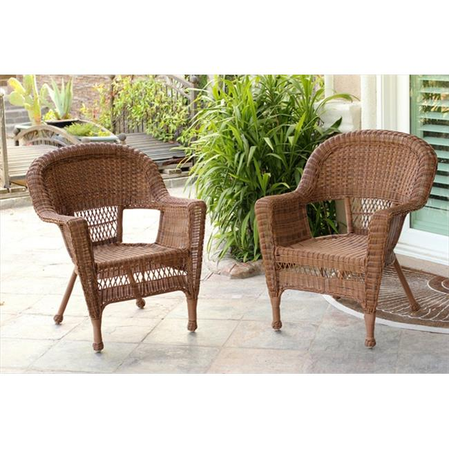 Jeco W00205 2-CES 3 Piece Honey Wicker Chair And End Table Set Without Cushion