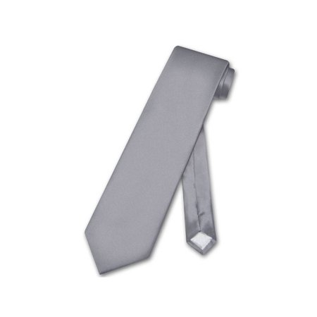 Biagio 100% SILK NeckTie EXTRA LONG Solid CHARCOAL GREY Color Men's XL Neck -