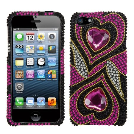 Insten Hot Pink Hypnotic Hearts Diamante Bling Diamond Phone Case Cover For APPLE iPhone SE 5S 5